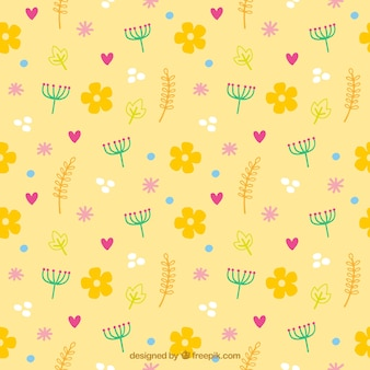 Yellow pattern of flowers and hearts