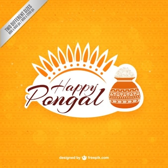 Yellow pongal background with a rice pot