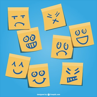 Yellow post-it with emotion faces