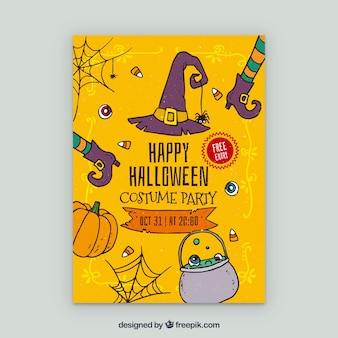 Yellow poster of halloween party with elements