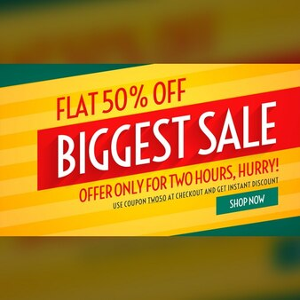 Yellow, red and green discount voucher