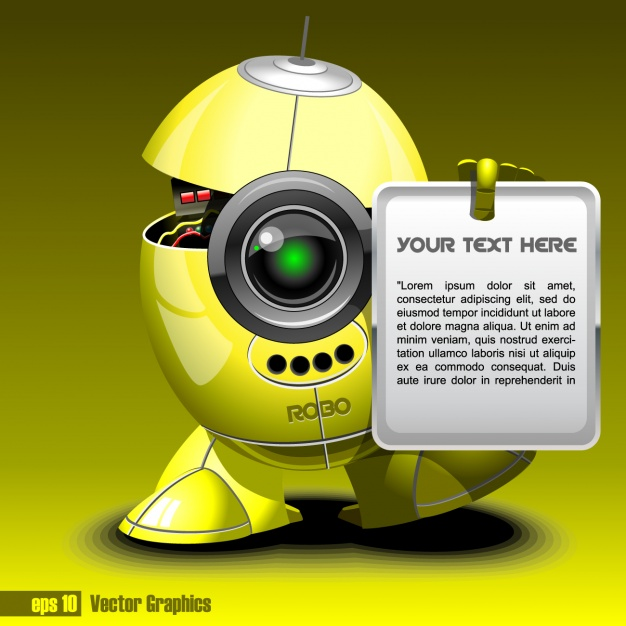Yellow robot with a text template