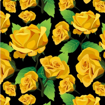 Yellow roses pattern background