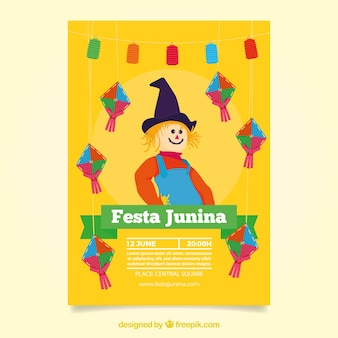 Yellow scarecrow festa junina invitation