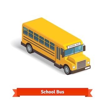 Желтый школьный автобус в изометрическом 3d