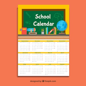 Yellow school calendar, flat style
