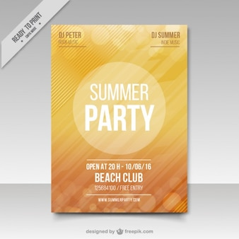 Yellow summer party poster with bookeh effect