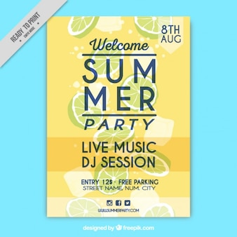 Yellow summer party poster with lemons