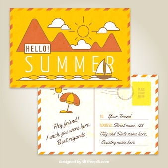 Yellow summer postcard