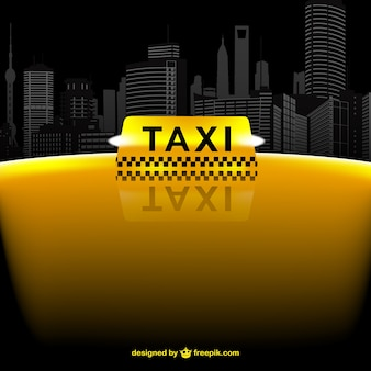 Yellow taxi and skyline