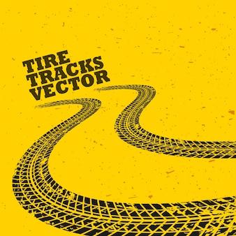 グランジタイヤトラックと黄色の背景