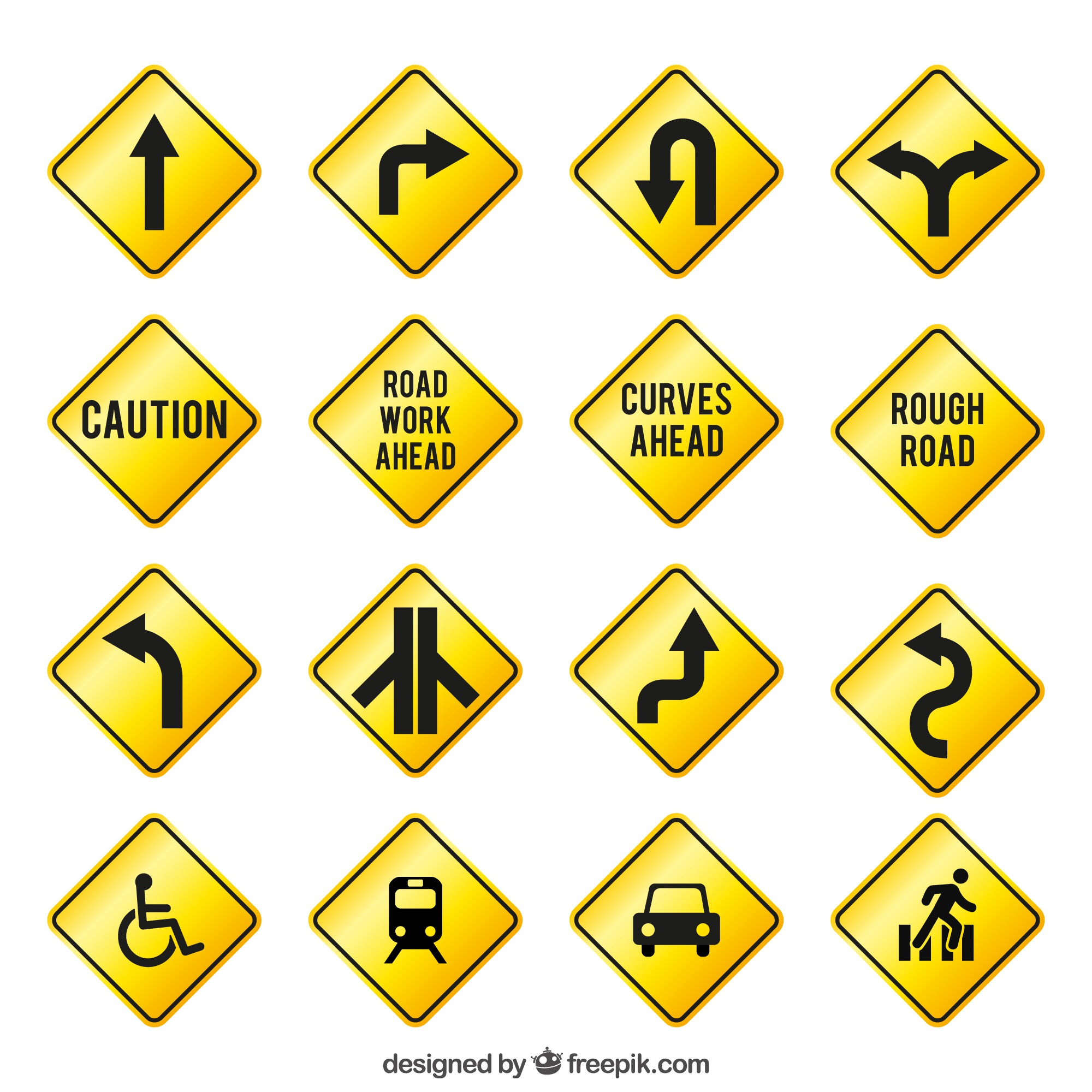 Yellow traffic signs