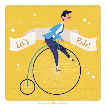Yellow vintage background of man in a unicycle