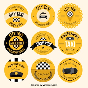Yellow vintage taxi badges