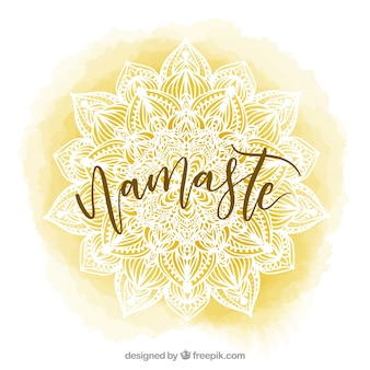 Yellow watercolor background with mandala and word  namaste