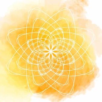 白い花の曼荼羅と黄色の水彩