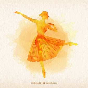 Yellow watercolor ballet dancer silouette