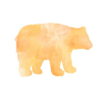 Yellow watercolor bear