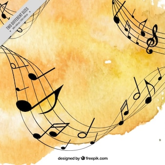 Yellow watercolor music background