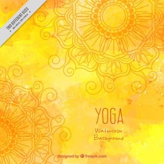 Yellow watercolor yoga background