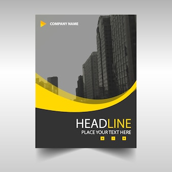Yellow wavy modern annual report template
