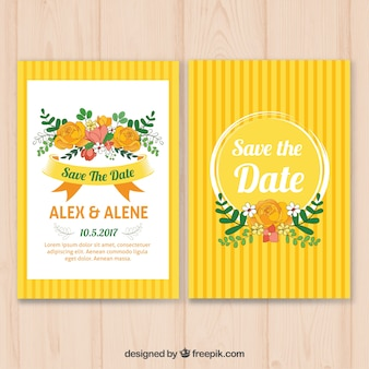 Yellow wedding invitation with floral decoration