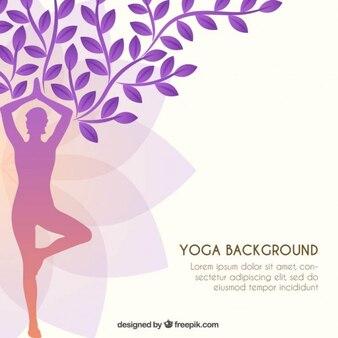 Yoga silhouette like a tree background