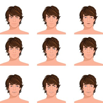 Young dark hair man emotions range of angry puzzled surprised alert and happy head portraits collection isolated vector illustration