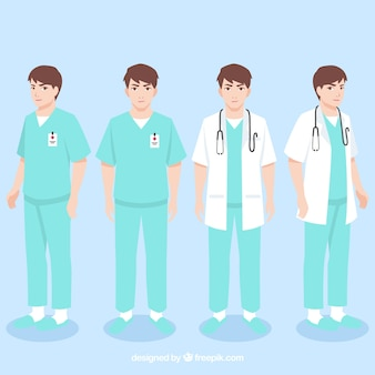 Young doctor with different outfits