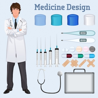 Young handsome healthcare doctor in white lab coat arms crossed with medical accessories set concept poster