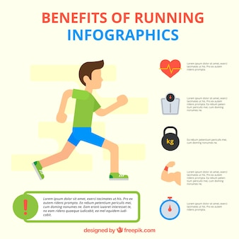 Young man running with infographic elements