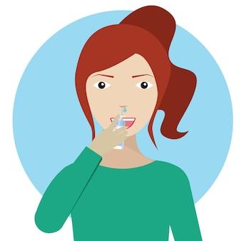 Молодая женщина, используя нос капли, девушка с носовой спрей в руках. Концепция лечения аллергии или простуды.