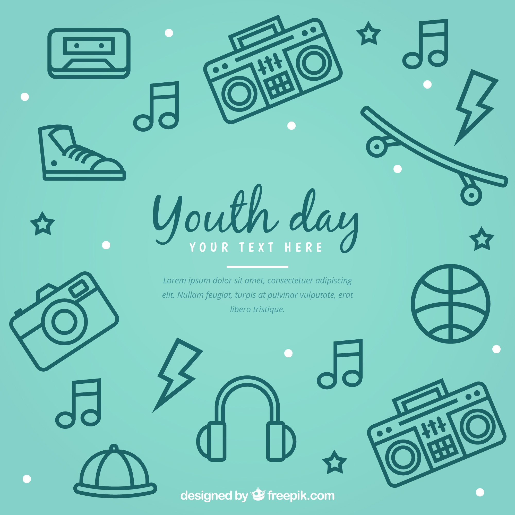 Youth day background with accessories