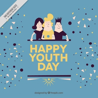 Youth day background with people in vintage style