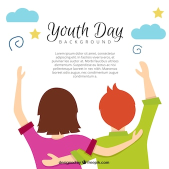 Youth day background with teenagers
