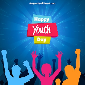 Youth day design with colorful silhouettes