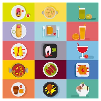 Yummy food icon collection