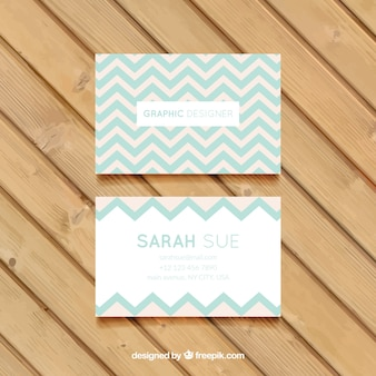 Zig-zag company card in soft tones