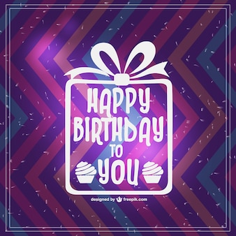 Zigzag Happy birthday card with white present