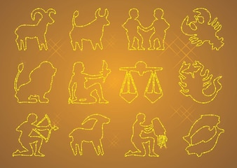 Zodiac icons vector sign & symbols