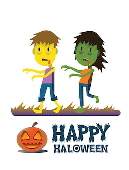 Zombie characters. Happy Halloween card, poster.  Vector illustration.
