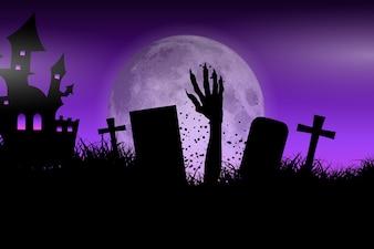 Zombie hand in Halloween landscape