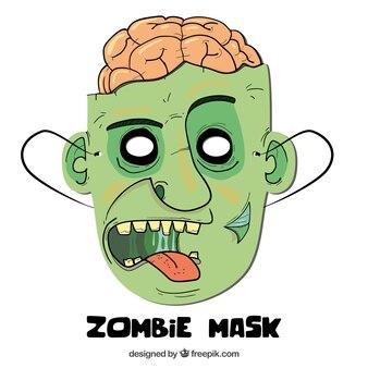 Zombie mask with brain