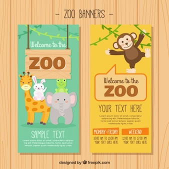 Zoo animals banners