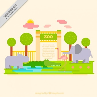 Zoo background of entrance with animals in flat design