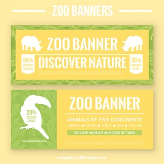 Zoo banners with silhouettes
