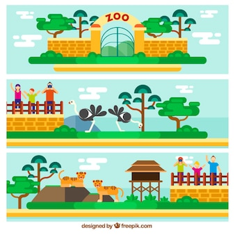 Zoo entrances in flat design