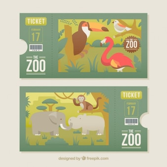 Zoo tickets with animals set