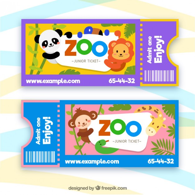 Zoo tickets with cartoon animals