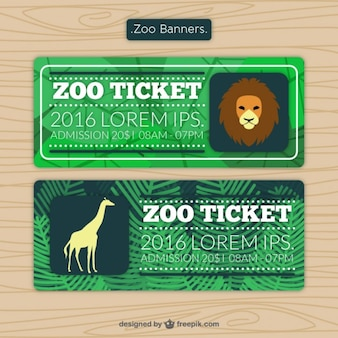 Zoo tickets with lion and giraffe